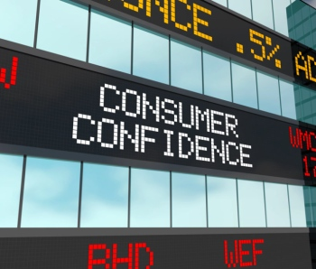 Consumer Confidence Wall Street Rise Increase Stock Market Ticker 3d Illustration