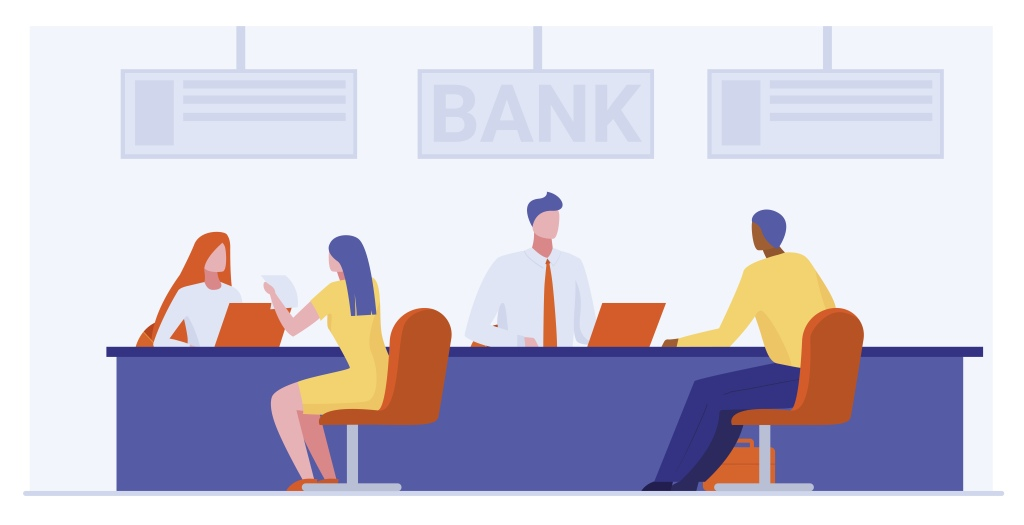 Bank workers providing service to clients