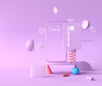 3D rendering payment via credit card concept. Secure online payment transaction with smartphone. Internet banking via credit card on mobile. geometric object floating background