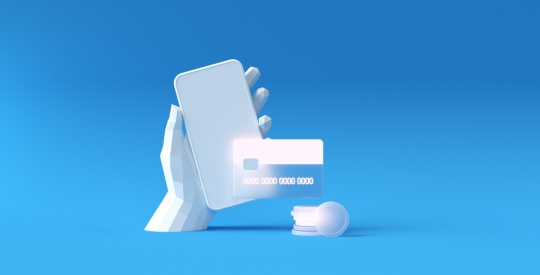 Poly hand holding smartphone and payment via credit card concept. Secure online payment transaction with smartphone. Internet banking via credit card. Protection shopping wireless pay through mobile.