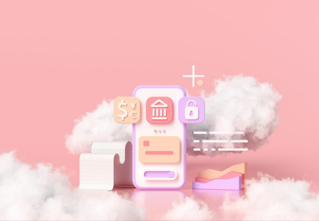 Cashless society, online mobile banking, and secure payment concept 3D cloud render illustration