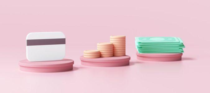 Credit card, coin stack and bundles cash on pink cylinder. online payment concept 3d render illustration