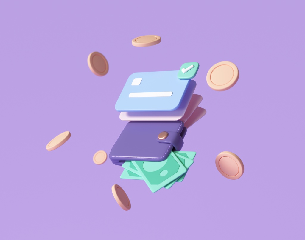 Credit card and banknotes, floating coins around on purple background. money-saving, cashless society concept. digital banking